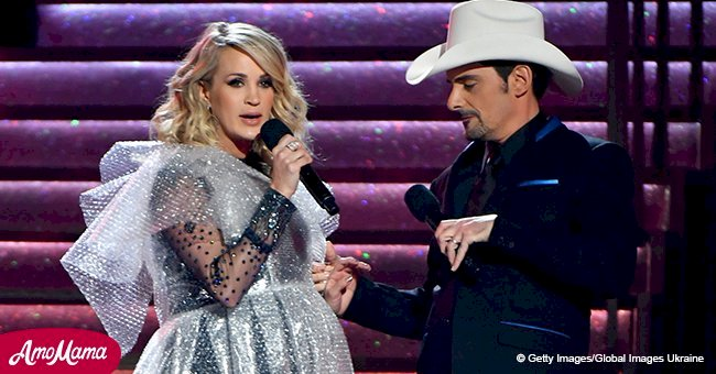 Brad Paisley gifts Carrie Underwood a bizarre bubble wrap dress after her 'really bad fall'