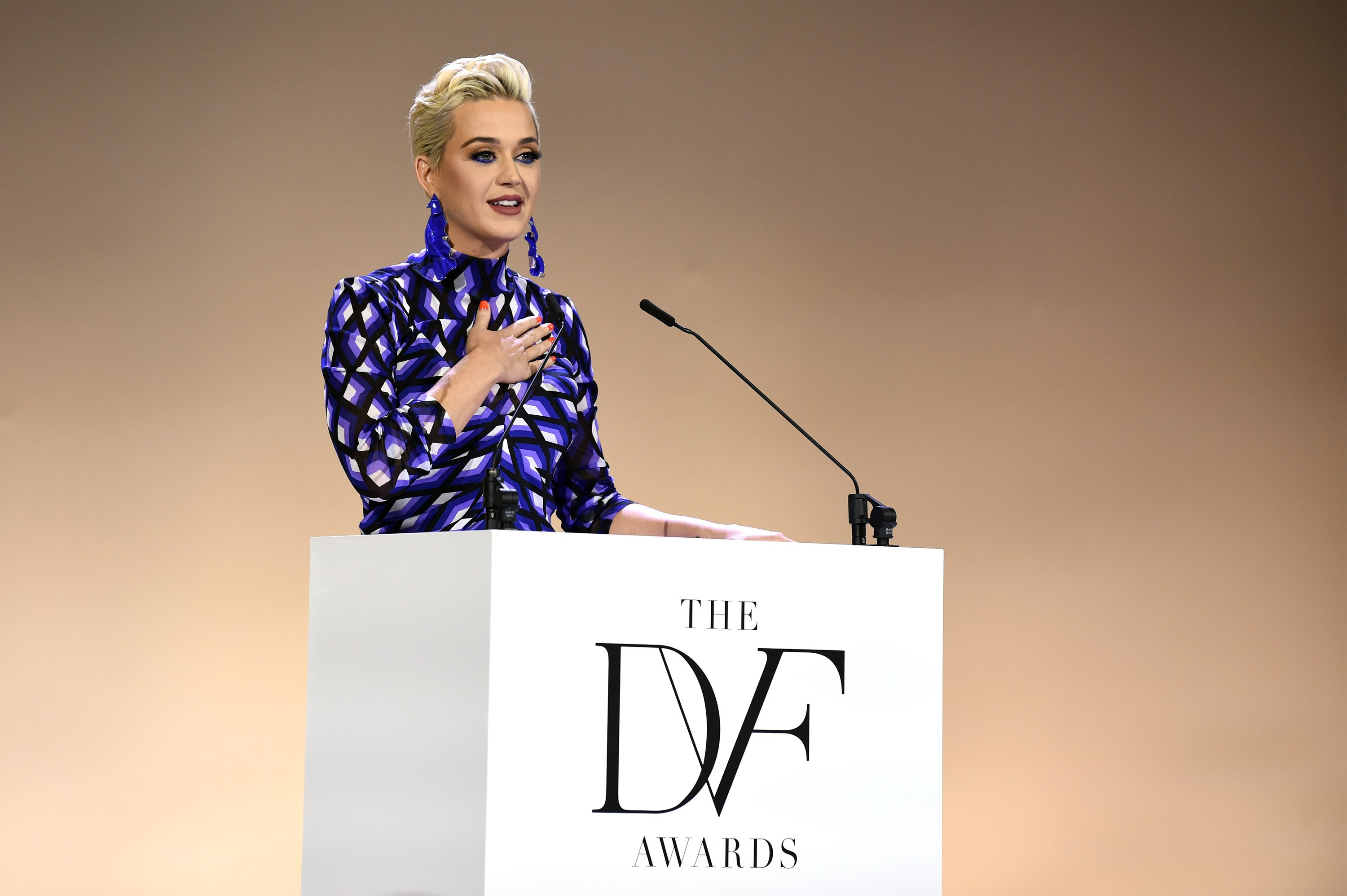 Katy Perry speaks onstage during 10th Annual DVF Awards at Brooklyn Museum on April 11, 2019 in New York City | Photo: Getty Images