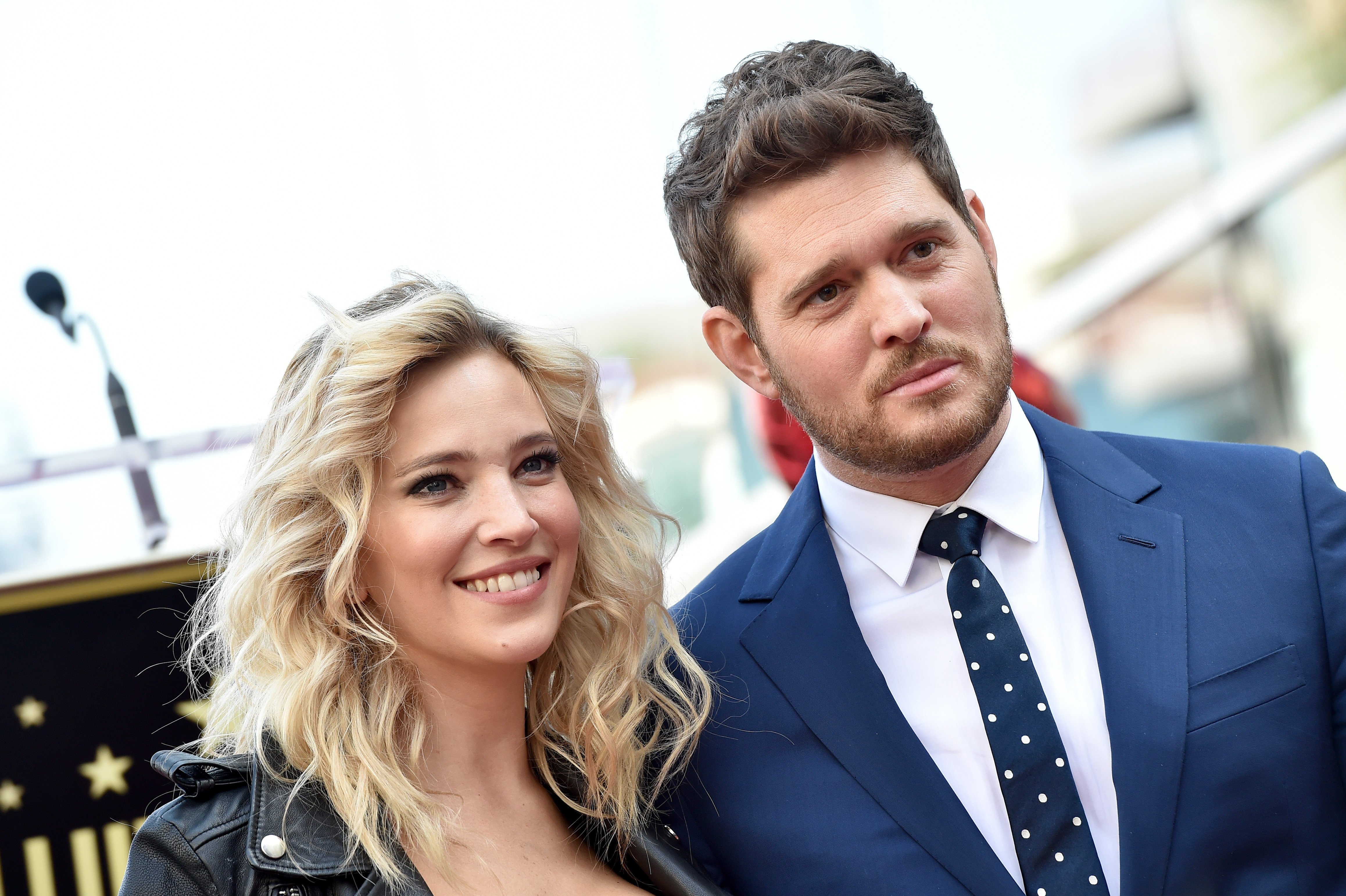 Michael Buble and Luisana Lopilato attend the ceremony honoring Michael Buble with star on the Hollywood Walk of Fame on November 16, 2018, in Hollywood, California. | Source: Getty Images.