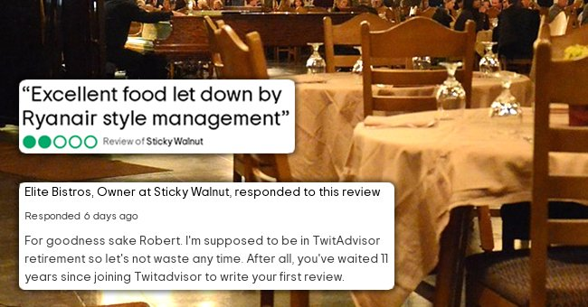 An online review written by a customer who ate at a restaurant coupled with a response from the owner with a picture of a restaurant in the background.   Source: pixabay.com/hsojhsoj; tripadvisor.co.uk