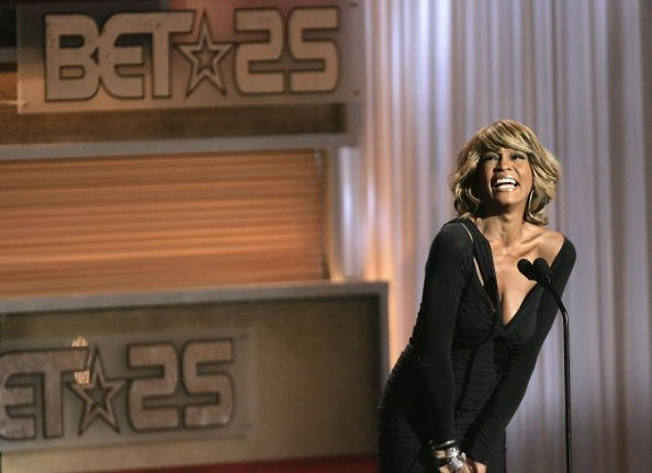 "Whitney Houston onstage during the taping of ""25 Strong: The BET Silver Anniversary Celebration"" at The Shrine auditorium in Los Angeles, California.