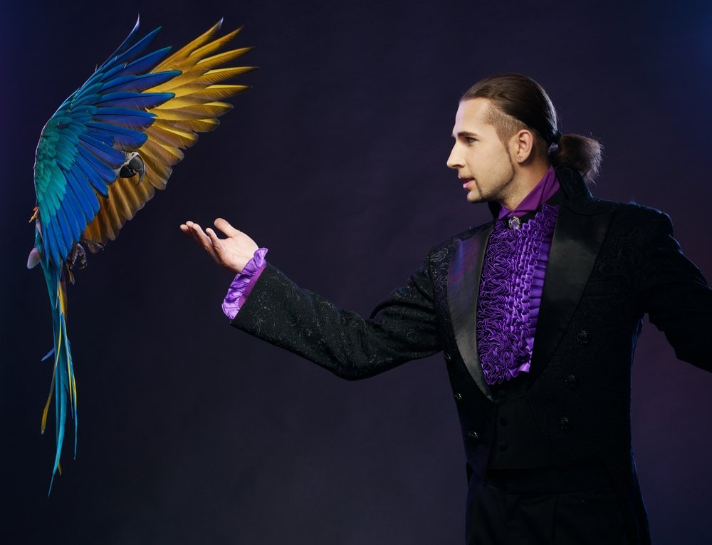 A photo of a magician in a stage costume with a parrot. | Photo: Shutterstock