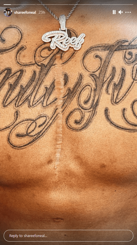 Shareef O'Neal shares a photo of his new tattoo on Instagram   Photo: Instagram.com/shareefoneal