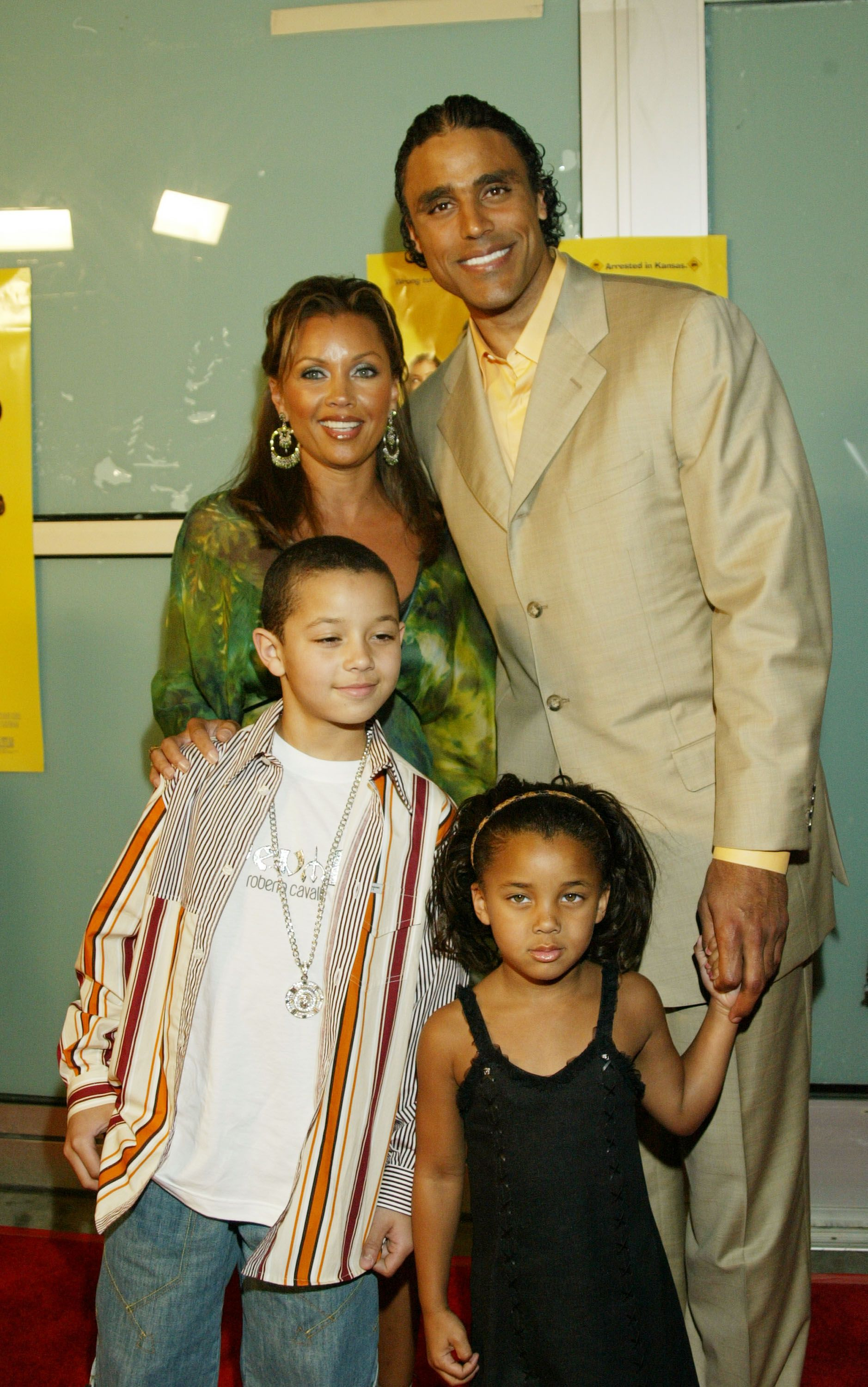 "Vanessa Williams, Rick Fox and theri children at the premier of ""Johnson Family Vacation""in 2004 