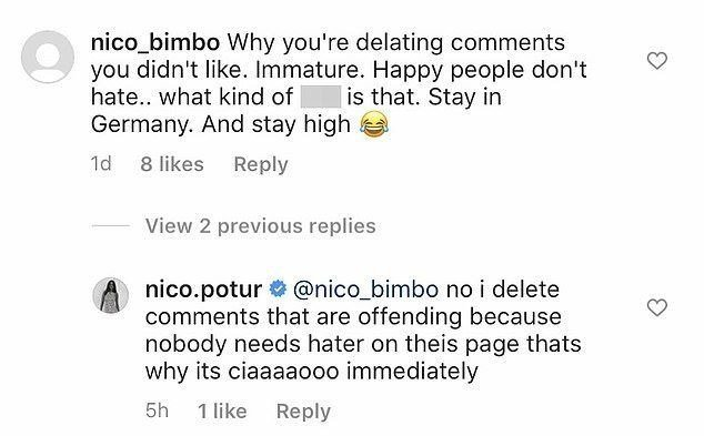 Screenshot of a fan comment on Nicole Poturalski's Instagram post on September 14, 2020. | Photo: Instagram/Nicole Poturalski