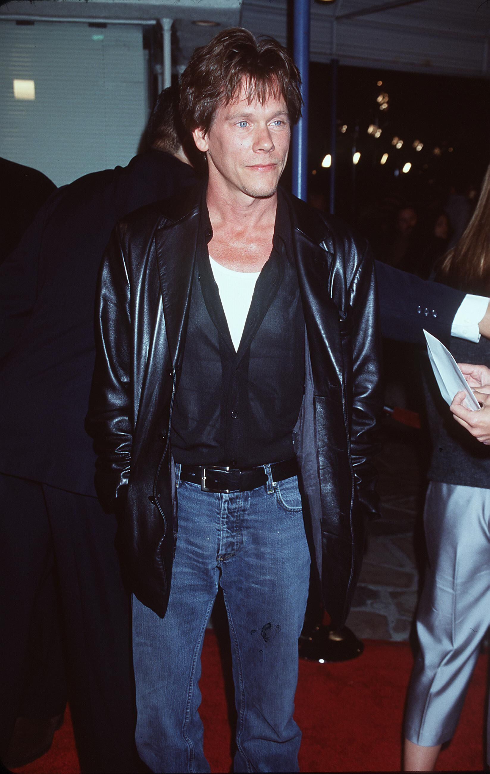 "Kevin Bacon at the premiere of Brad Pitt's new movie ""The Fight Club."" 