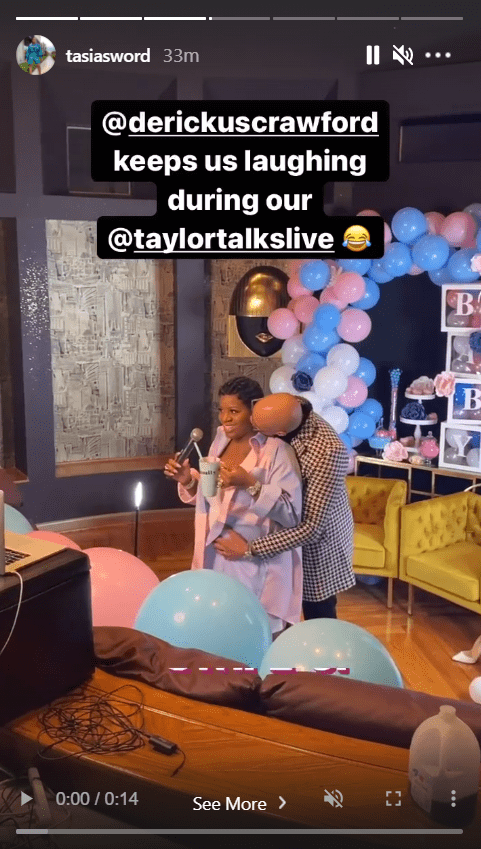 A screenshot from a video of singer Fantasia Barrino and her husband Kendall Taylor on Instagram as he cradles her baby bump   Photo: Instagram/tasiasworld