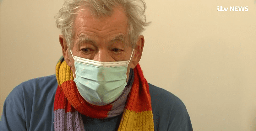 Sir Lan McKellen received a COVID-19 vaccine this month with the NHS.  Photo: ITV.com