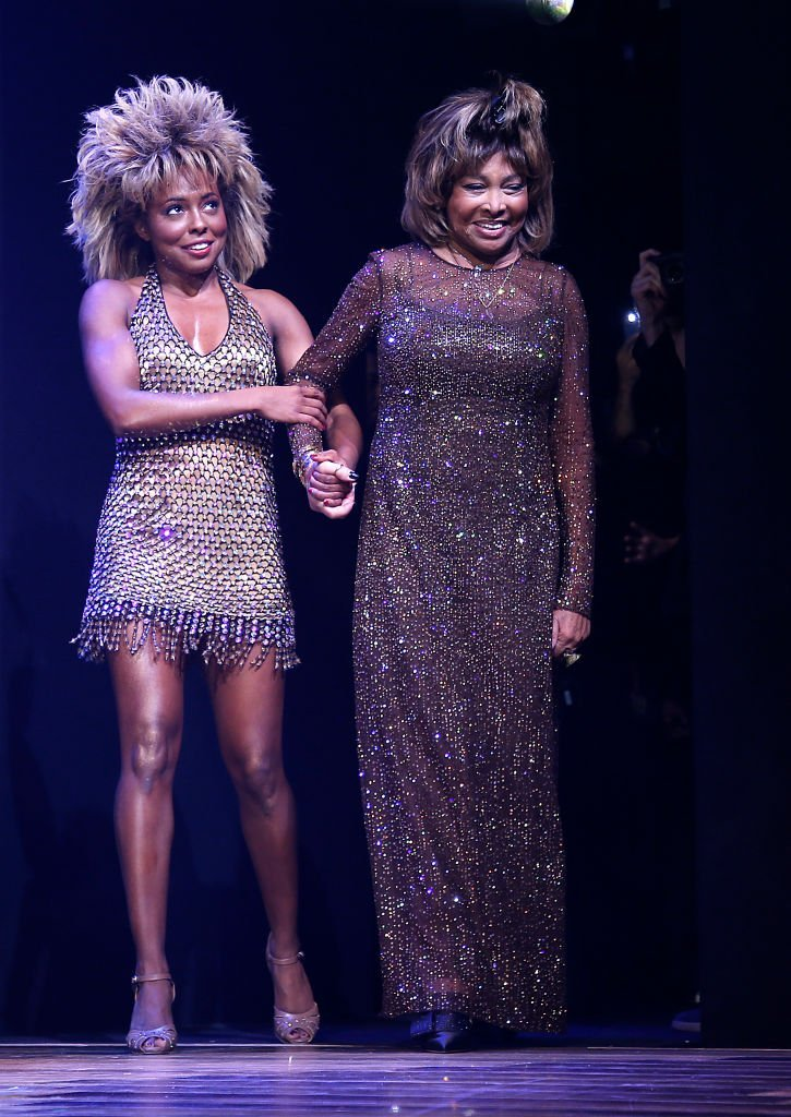 "Tina Turner and Adrienne Warren are on stage during ""Tina - The Tina Turner Musical"" opening night at Lunt-Fontanne Theatre on November 07, 2019 