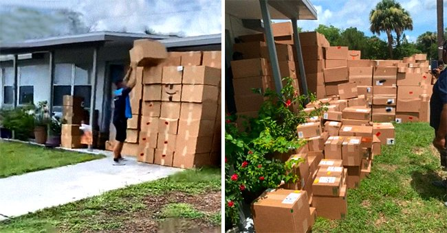 A picture of an Amazon employee stacking boxes on the left and a picture of a large number of Amazon boxes on the left. │ Source: tiktok.com/cassie5616
