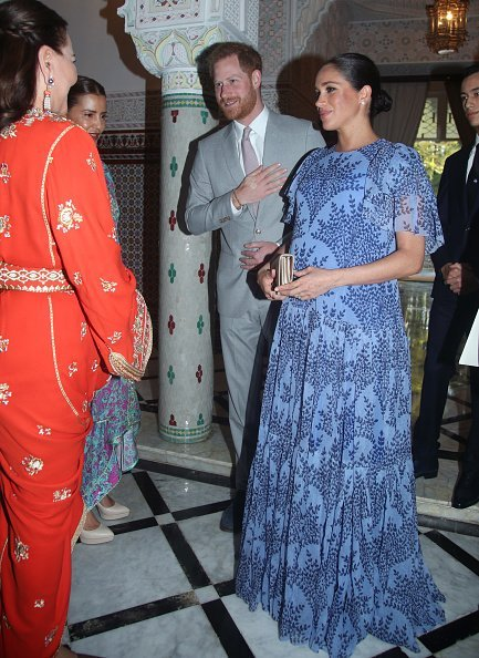Prince Harry and Meghan Markle greet Princess Lalla Meryem and Princess Lalla Hasna of Morocco at King Mohammed VI of Morocco's residence on February 25, 2019 in Rabat, Morocco. | Source: Getty Images.