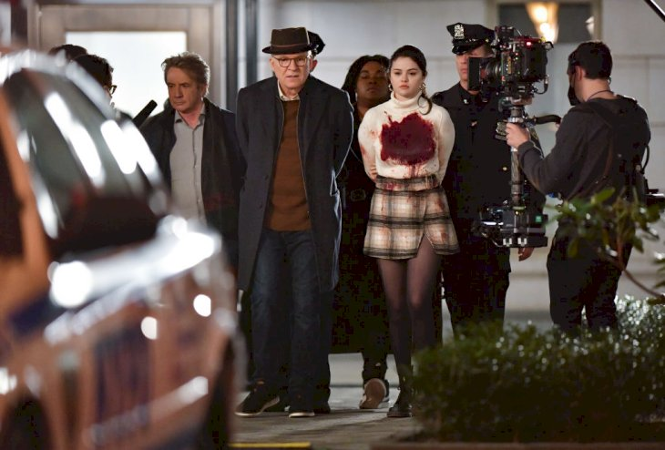 Martin Short, Steve Martin and Selena Gomez on the set of 'Only Murders in the Building' Photo   Getty Images