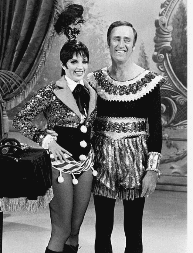 "Liza Minnelli and Dick Martin on the set of ""Rowan & Martin's Laugh-In"" 