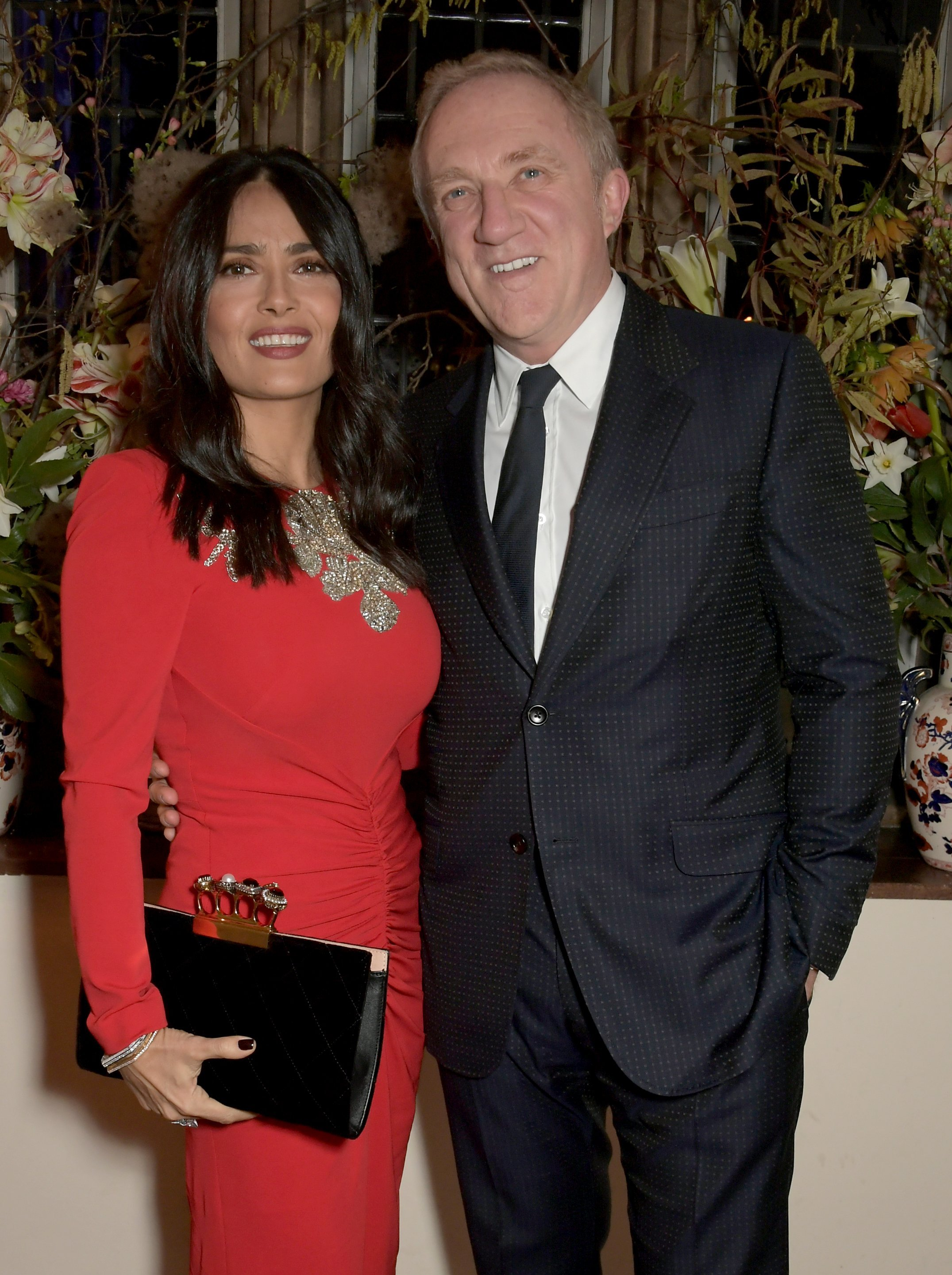 Salma Hayek and Francois-Henri Pinault at a dinner in celebration of the Alexander McQueen Old Bond Street Flagship Store | Photo: Getty Images