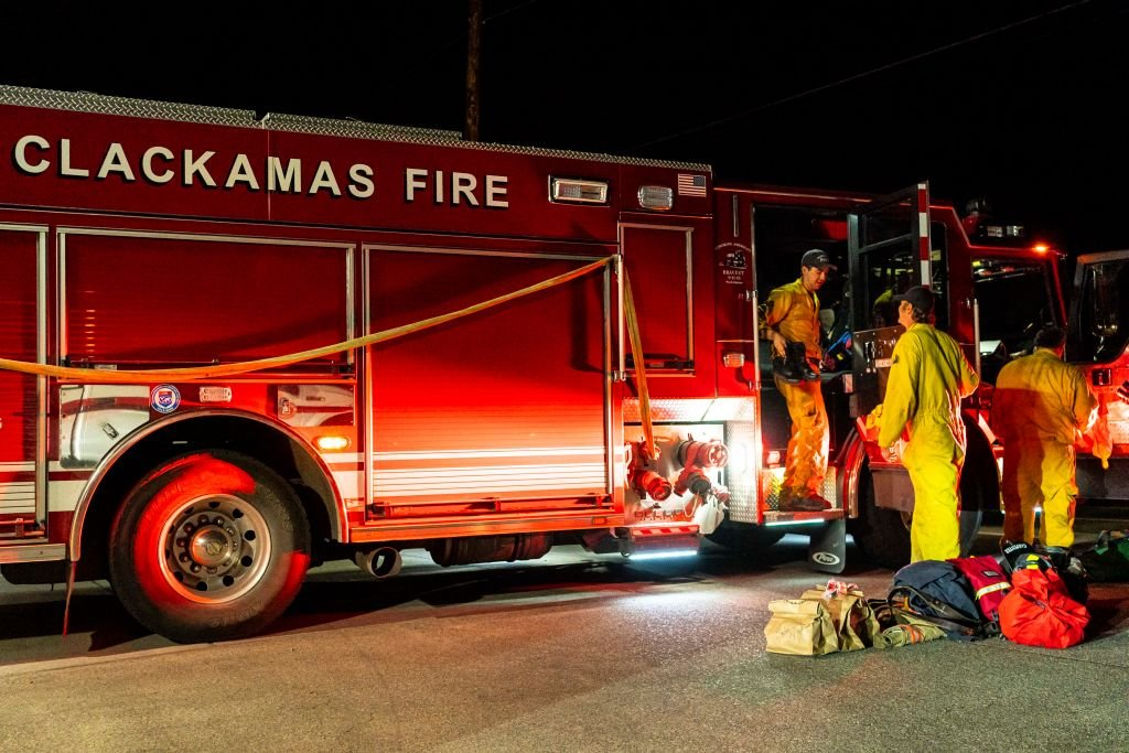 Firefighters prepare for an operation at a Clackamas County fire station on September 9, 2020   Photo: Getty Images