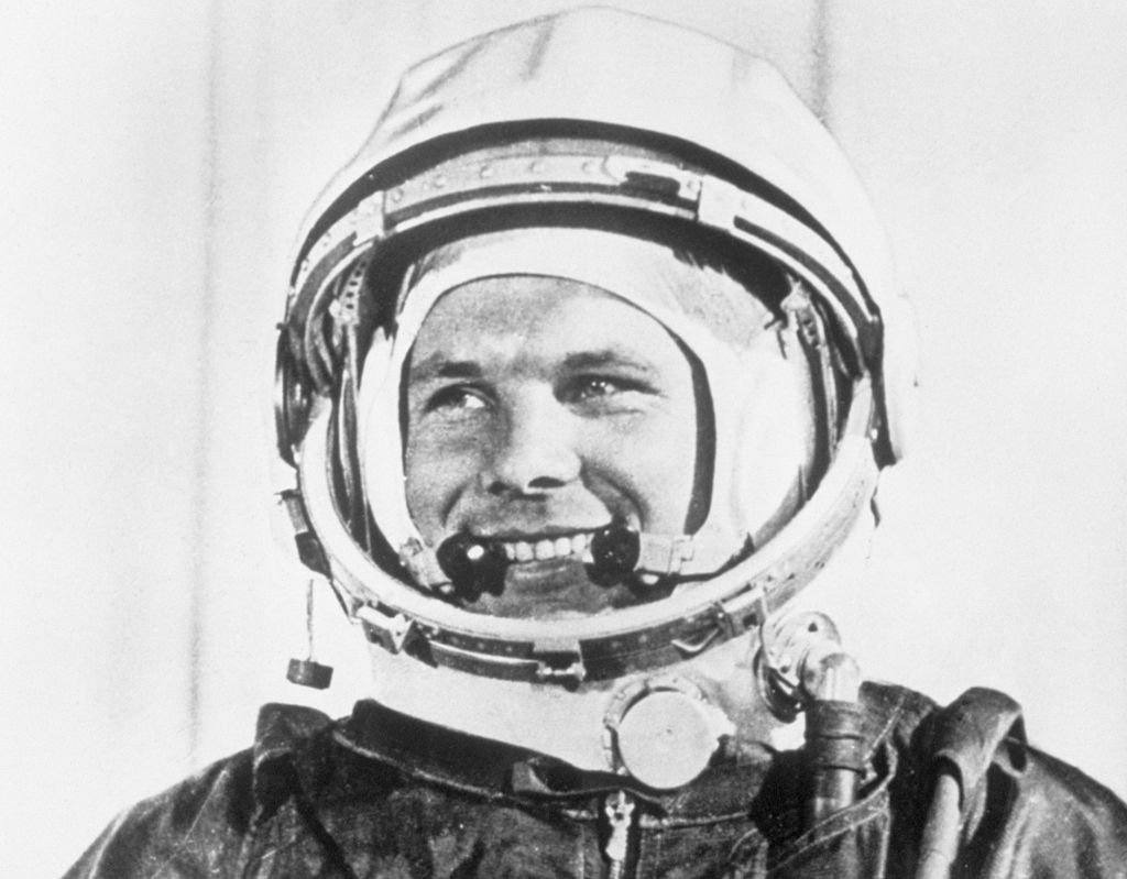 "Yuri Gagarin in his spacesuit in a scene from the documentary, ""First Voyage to the Stars,"" which is being screened at the 2nd Moscow International Film Festival on July 19, 1961. 