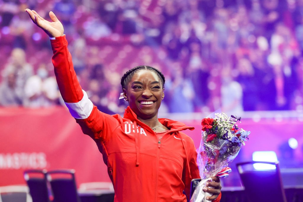 Simone Biles at the Women's competition of the 2021 U.S. Gymnastics Olympic Trials, June 2021 | Source: Getty Images