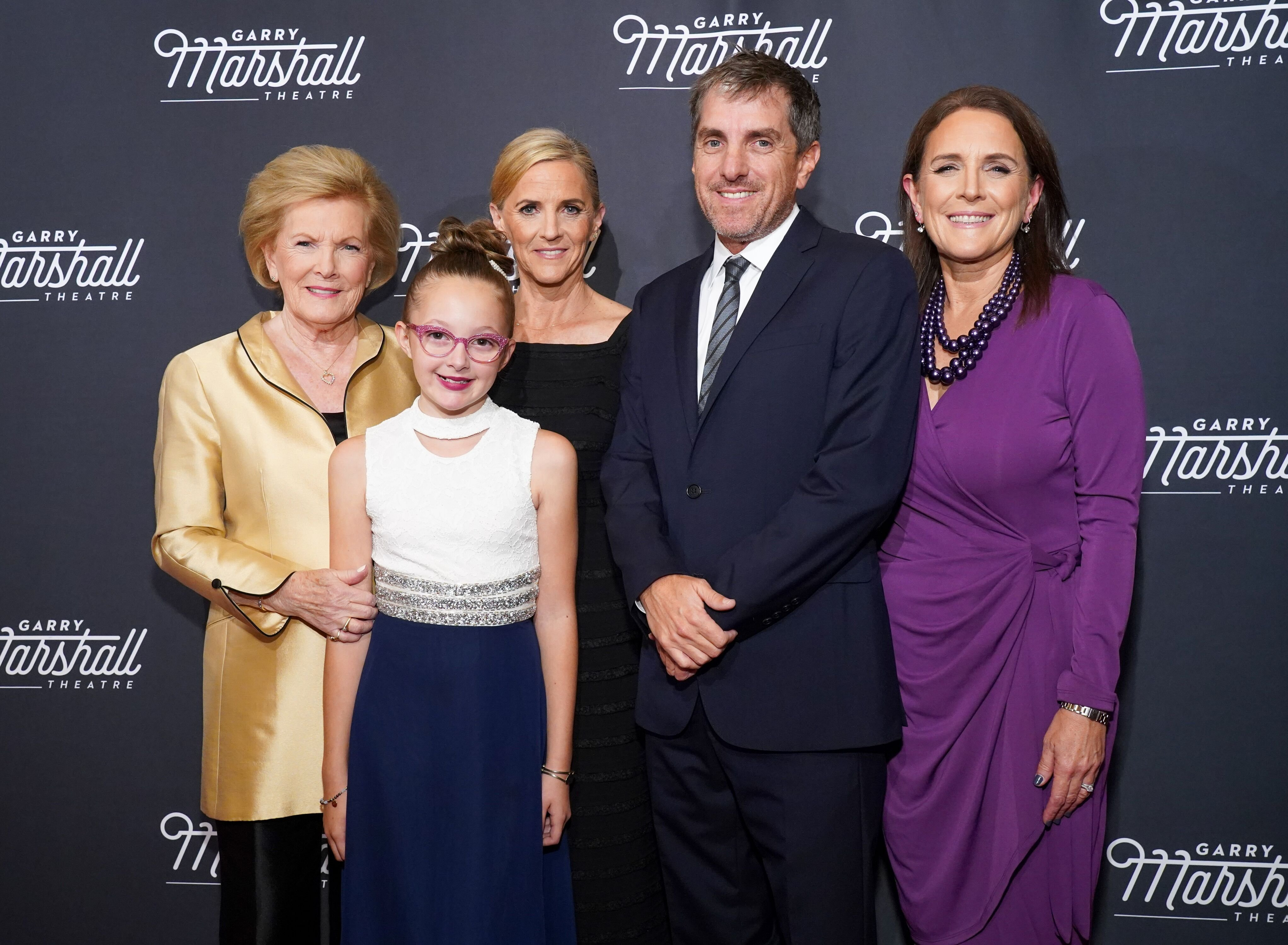 "Barbara Marshall, Sienna LaGambini, Kathleen Marshall, Scott Marshall and Lori Marshall at the Garry Marshall Theatre's Annual Founder's Gala Honoring Original ""Happy Days"" Cast in 2019 in Los Angeles 