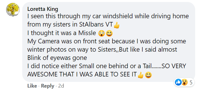 Story of one of those who witnessed the meteor.   Photo: Facebook/NasaMeteorWatch