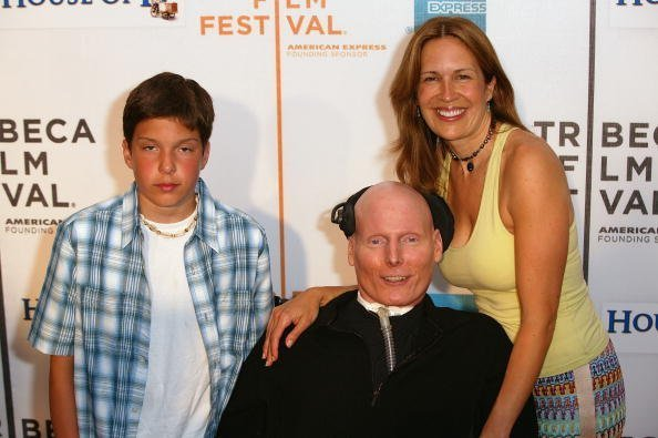 "Christopher Reeve, his wife Dana and son Will at the screening of ""House Of D"" on May 7, 2004 in New York City. 