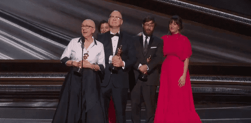 """Julia Reichert and Steven Bognar accept the Academy Award for Best Documentary feature for """"American Factory."""" at the 2020 Oscars. 