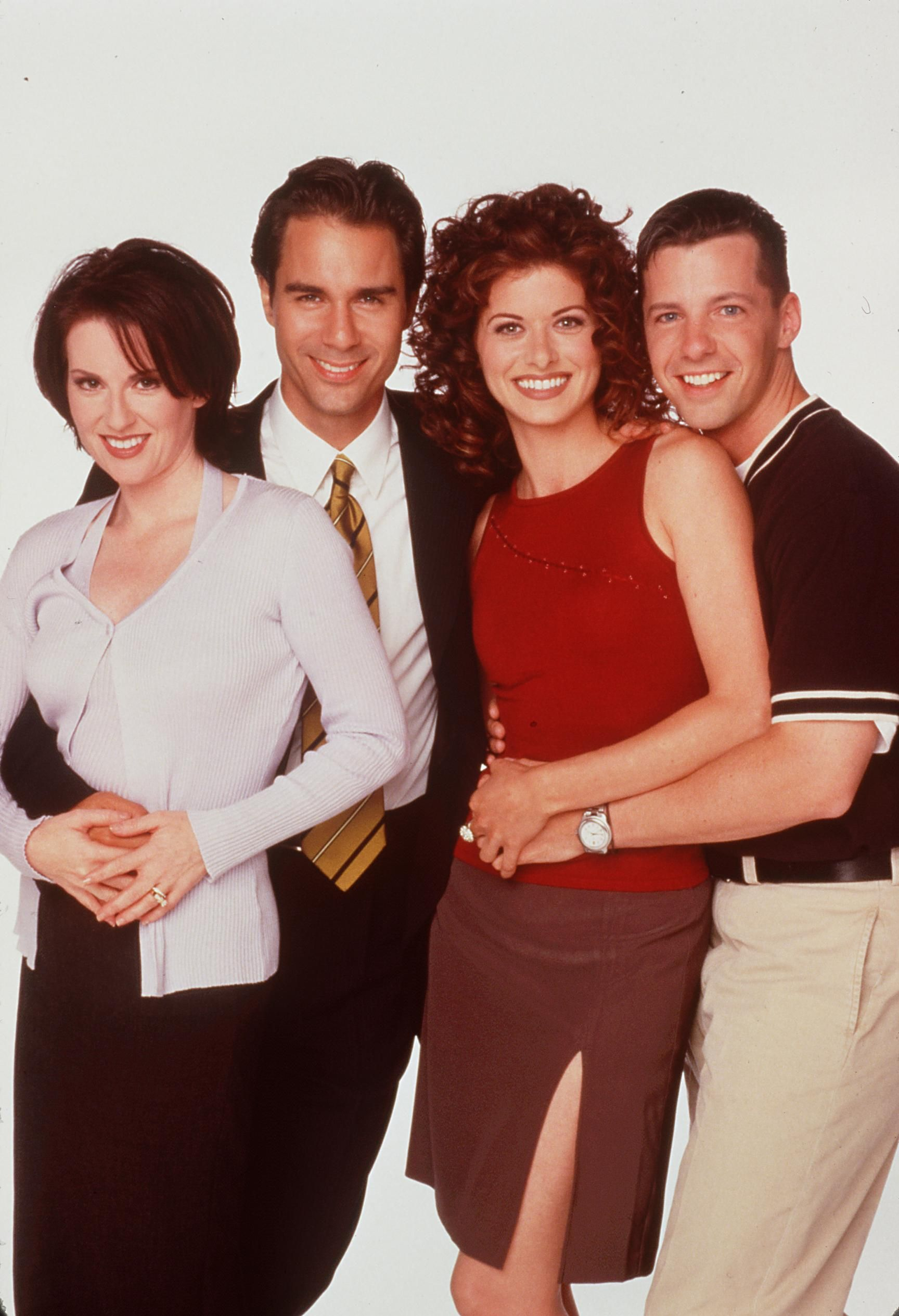 """Megan Mullally, Eric McCormack, Debra Messing, and Sean Hayes star in """"Will & Grace"""" in 2000 