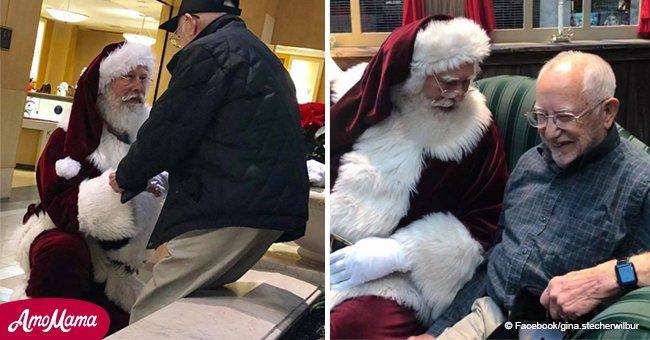 Une inconnue fond en larmes après avoir vu un homme déguisé en Père Noël se mettre à genoux devant un homme de 93 ans