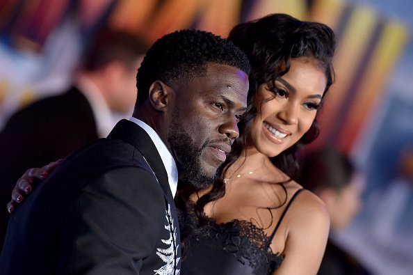 """Kevin Hart and Eniko Parrish attend the premiere of Sony Pictures' """"Jumanji: The Next Level"""" in Hollywood, California. 