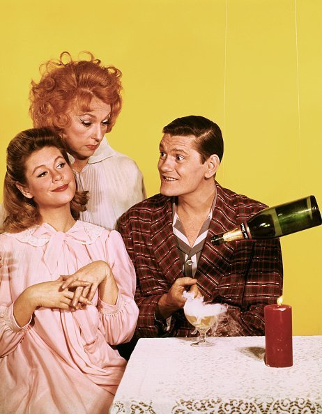 """Elizabeth Montgomery, Agnes Moorehead, and Dick York for the television program, """"Bewitched"""" 