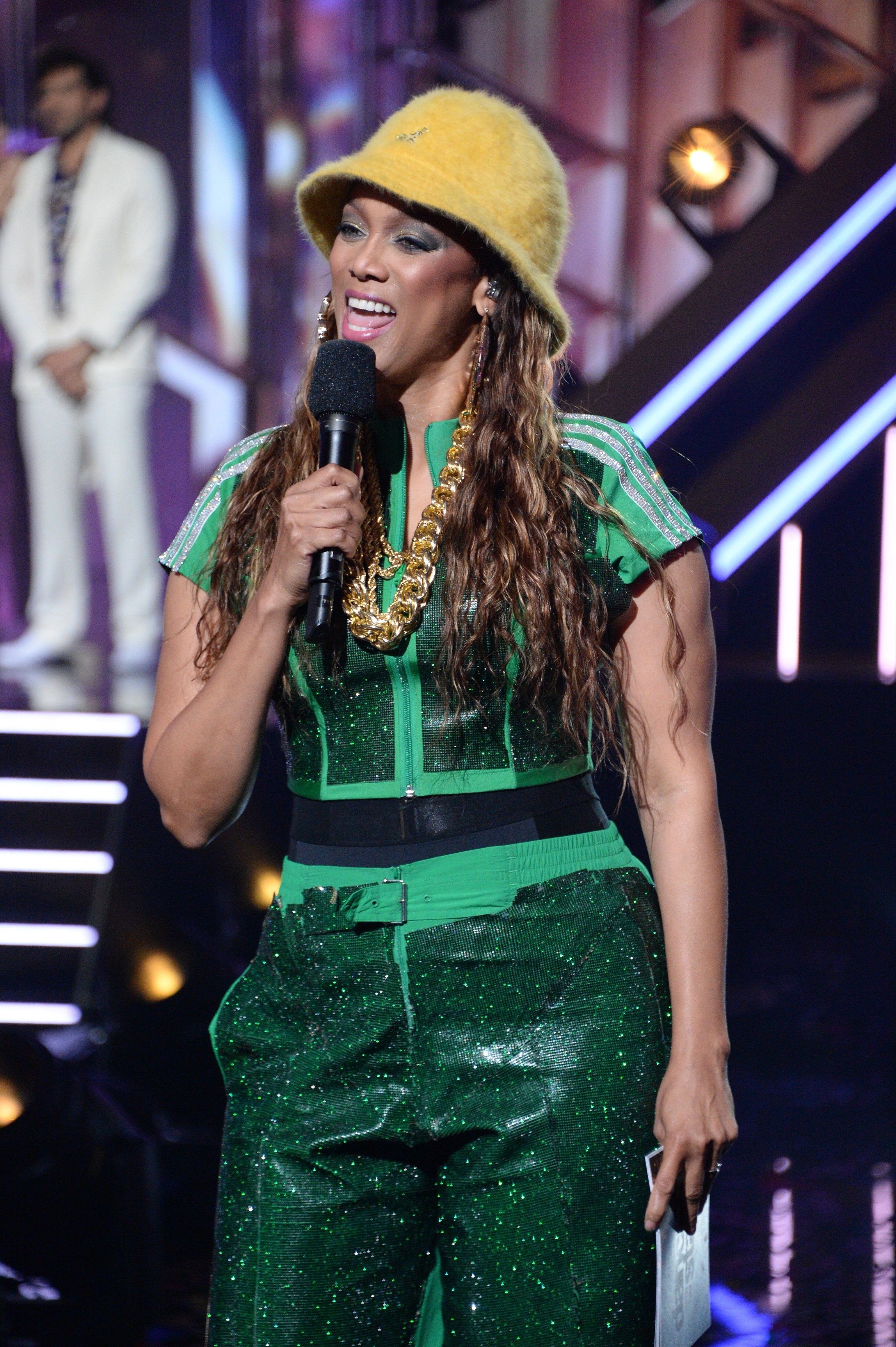 "Tyra Banks hosting 80s night on ""Dancing With The Stars"" on October 12, 2020. 