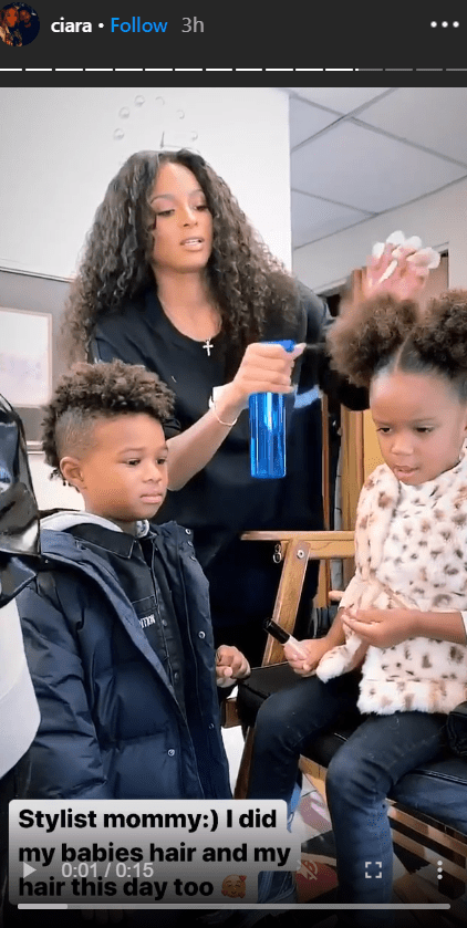A screenshot of Ciara, her son Future and her daughter Sienna from Ciara's Instagram story | Photo: instagram.com/ciara