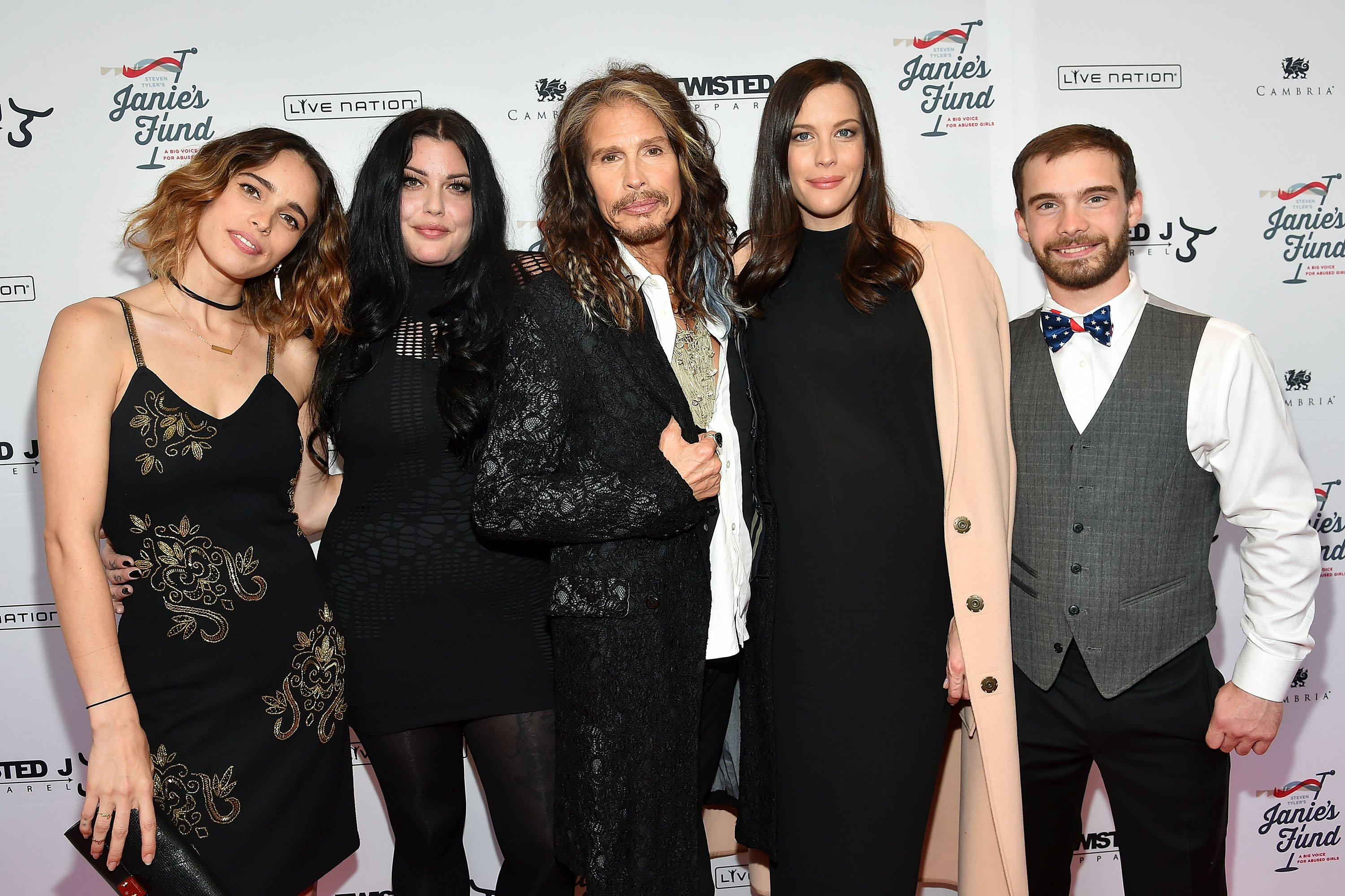 Chelsea Tyler, Mia Tyler, Steven Tyler, Liv Tyler and Taj Tallarico attend the Steven Tyler...Out On A Limb Benefit Concert on May 02, 2016 | Photo: GettyImages