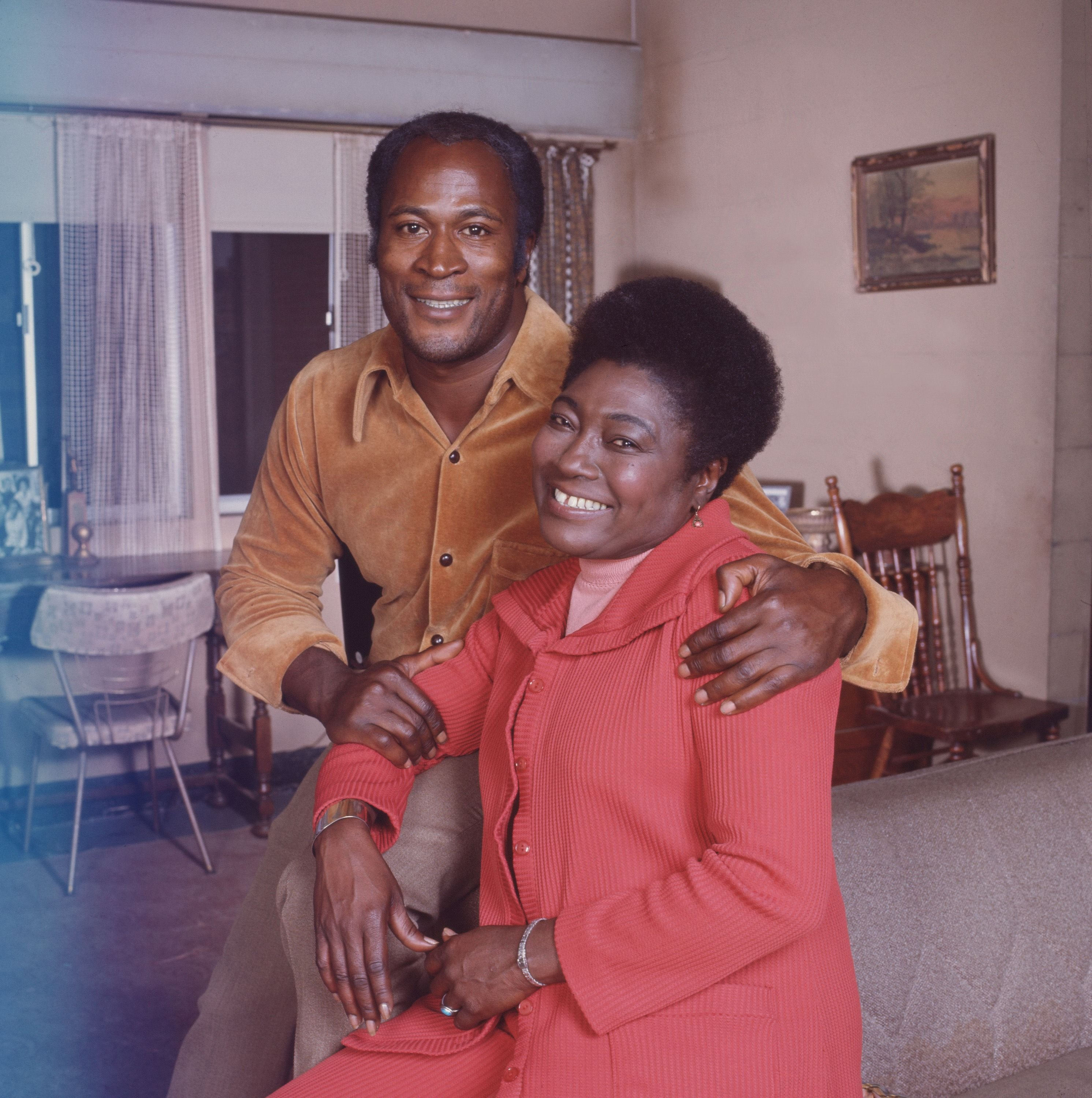 """John Amos and Esther Rolle of the television show """"Good Times"""" in California in 1975 