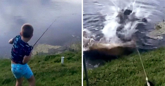 The 7-year-old boy was busy fishing in the backyard when a giant alligator startled him. | Photo: facebook.com/wesh2news