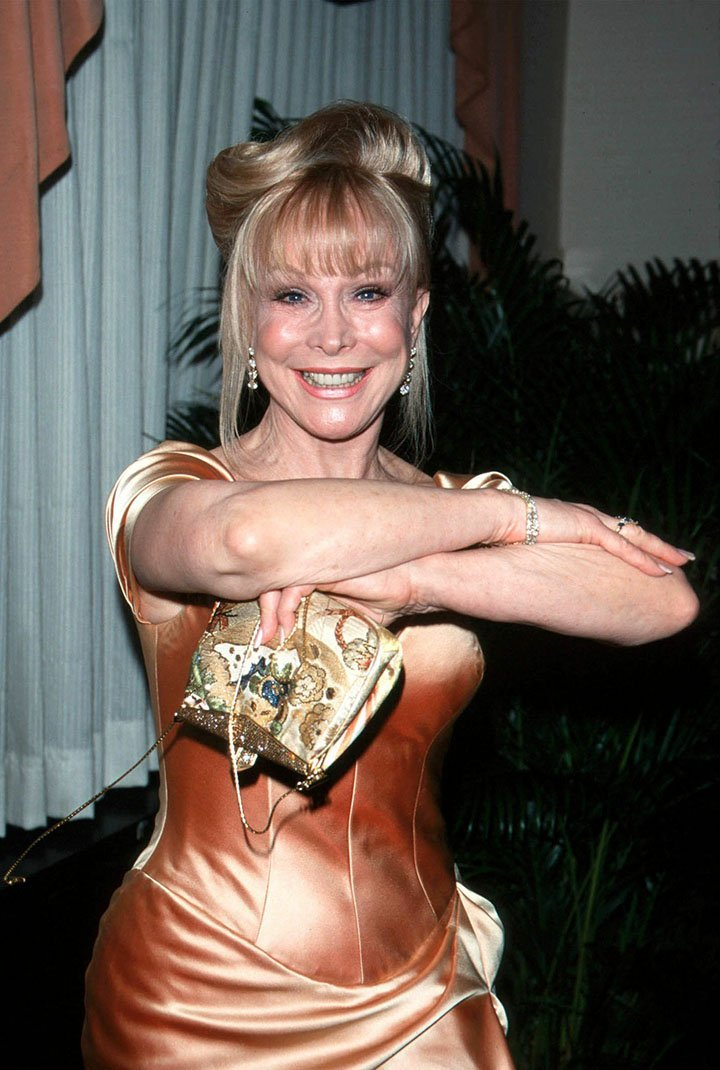 "Barbara Eden does her signature move from ""I Dream of Jeannie."" I Image: Getty Images."