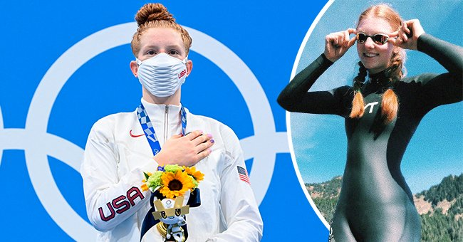 A swimmer did not have an olympic-size pool to train in but she managed to win the gold medal in Tokyo | Photo: Instagram/lydiaalicee_  & Getty Images