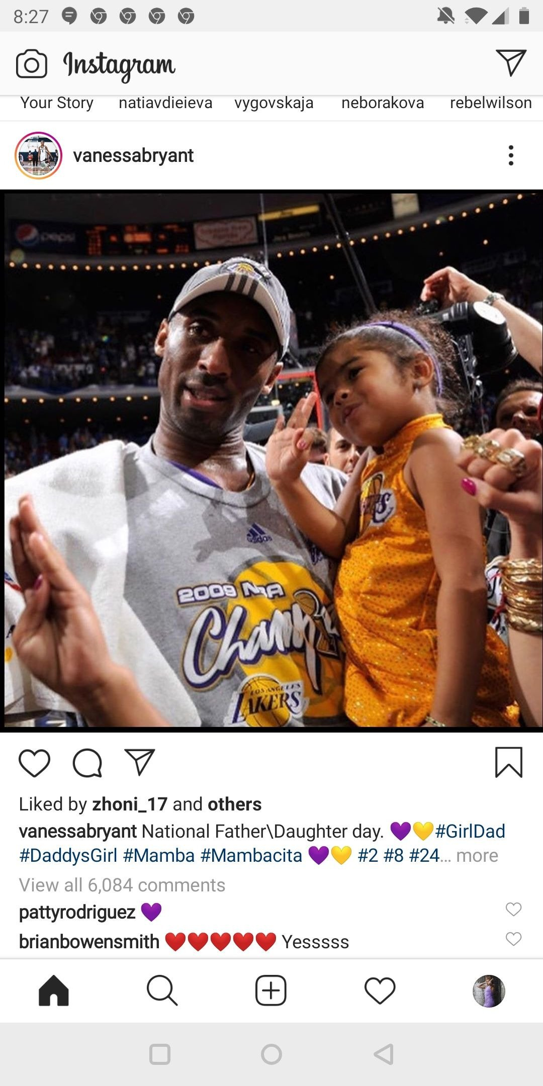 Kobe Bryanta and his daughter in his arms after a basketball game.   Photo: Instagram/vanessabryant