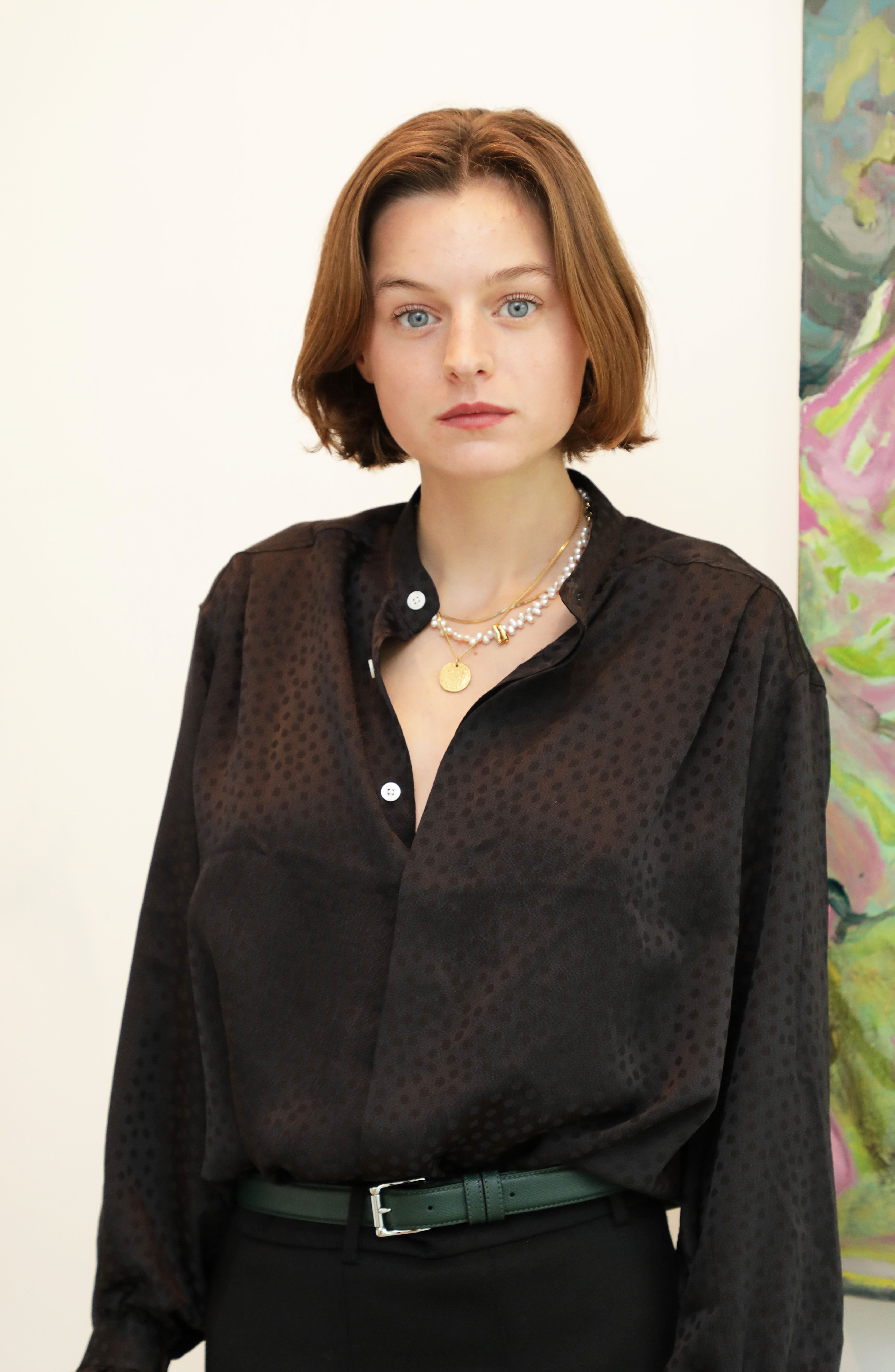 """Emma Corrin at a VIP preview of """"Go On Then: Tomo Campbell"""" at The Cob Gallery on October 08, 2020   Photo: Getty Images"""