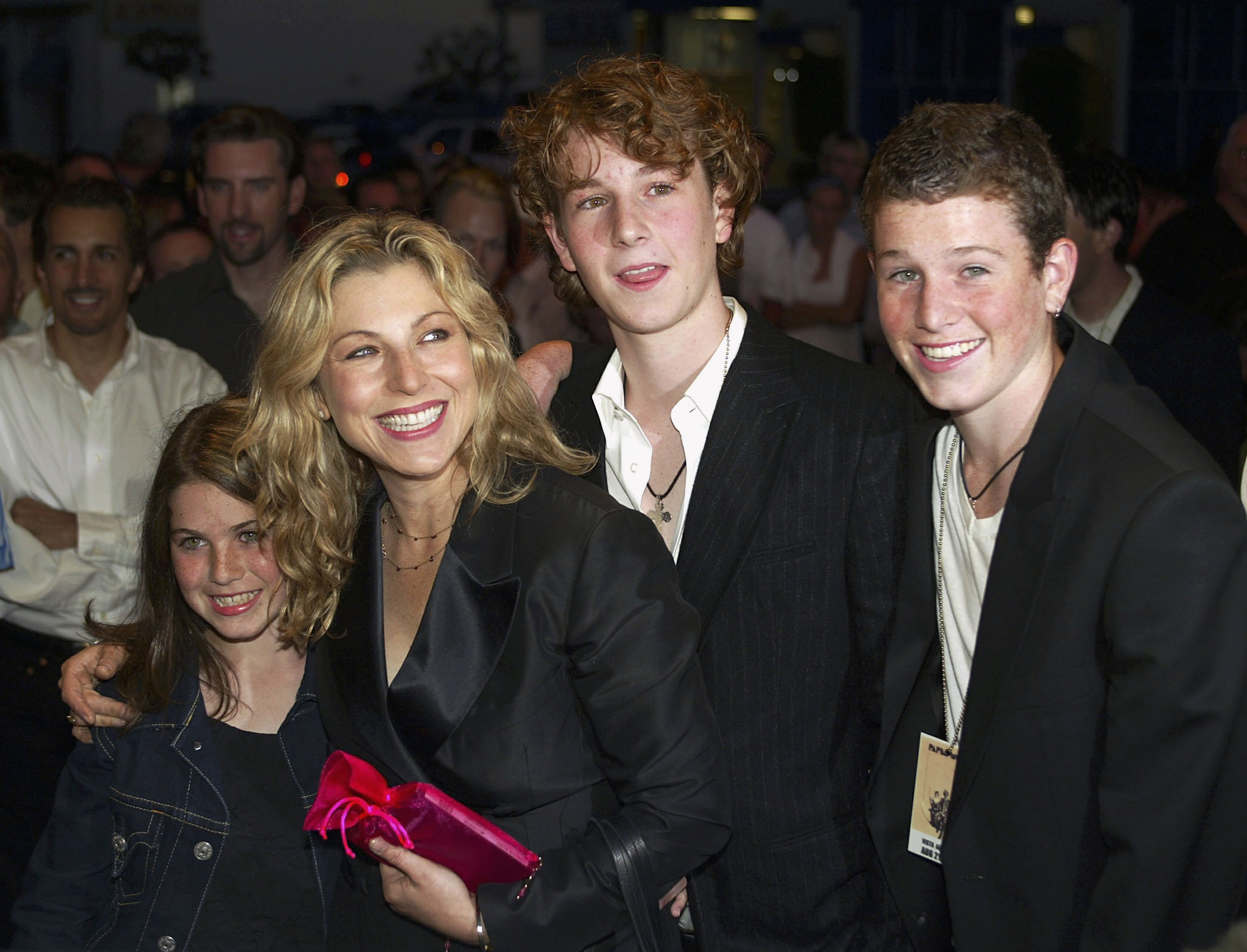 "Tatum O'Neal and her children Emily, Kevin and Sean McEnroe arrive at the 30th anniversary screening of ""Paper Moon"" at the Vista Theater August 21, 2003 in Los Angeles, California. 