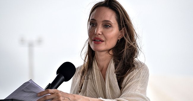 Angelina Jolie delivers a speech during a press conference after visiting a refugee camp in the border between Colombia and Venezuela , June 2019   Source: Getty Images