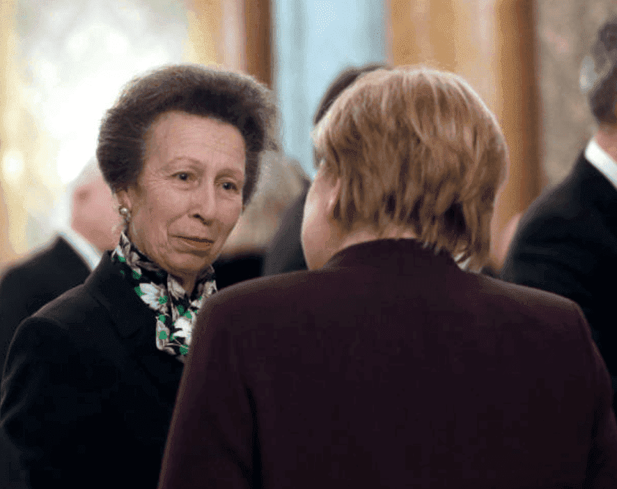 Princess Anne, speaks with Chancellor of Germany, Angela Merkel at a reception for the NATO Summit hosted by Queen Elizabeth at Buckingham Palace, on December 3, 2019, in London, England. Source: Yui Mok - WPA Pool/Getty Images.