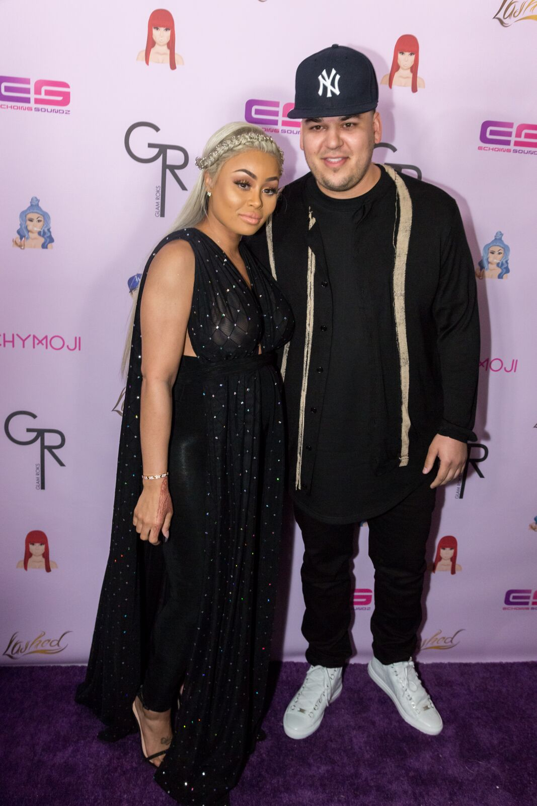 """Rob Kardashian and Blac Chyna arrive at her Blac Chyna Birthday Celebration And Unveiling Of Her """"Chymoji"""" Emoji Collection at the Hard Rock Cafe on May 10, 2016 