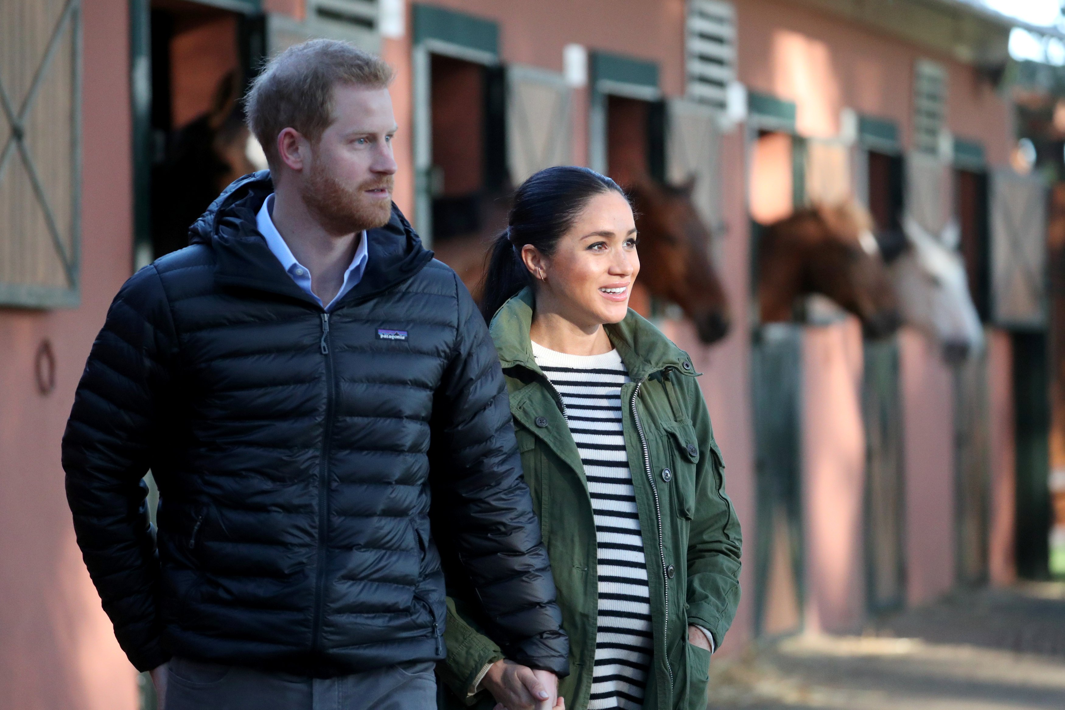 Prince Harry and Meghan Markle pictured at the Moroccan Royal Federation of Equitation Sports, 2019, Rabat Morocco.