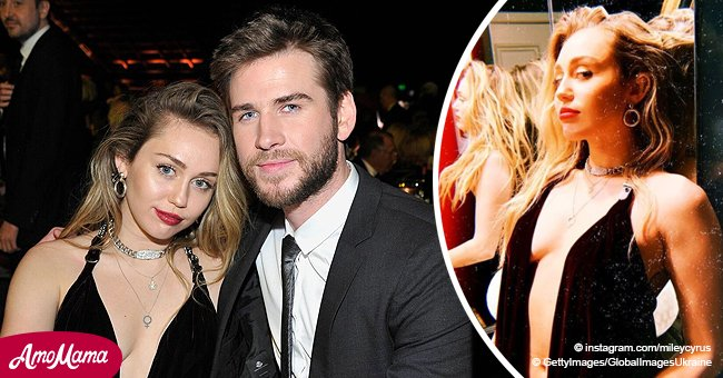 Miley Cyrus almost flashes her breasts on her first outing with husband since their wedding