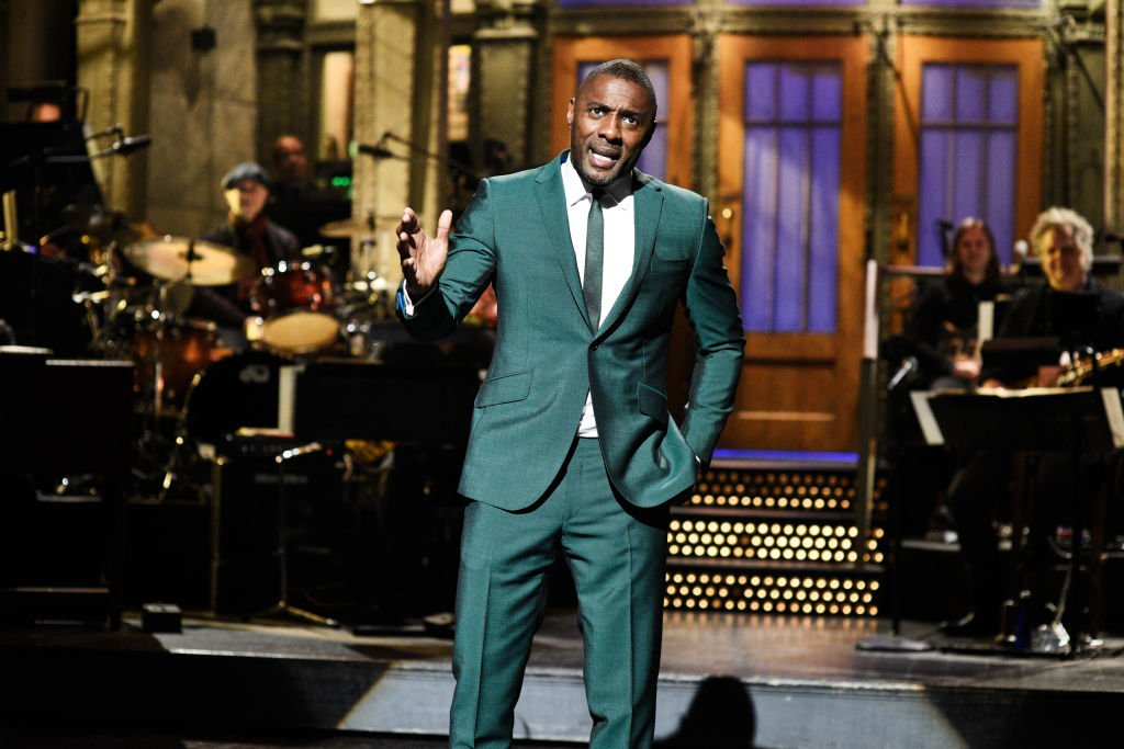 """Actor Idris Elba during his 2019 monologue on the TV show """"Saturday Night Live"""" in NBC. 