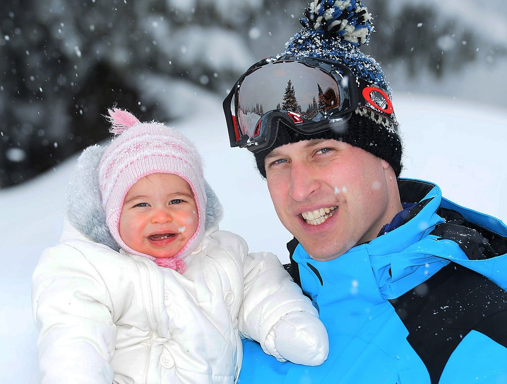 Prince William, Duke of Cambridge and Princess Charlotte, on March 3, 2016 in the French Alps, France.   Photo: Getty Images