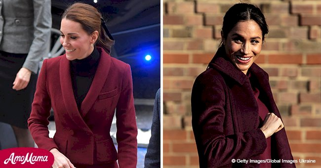 Kate Middleton chose the same color outfit as Meghan Markle for her solo engagement today
