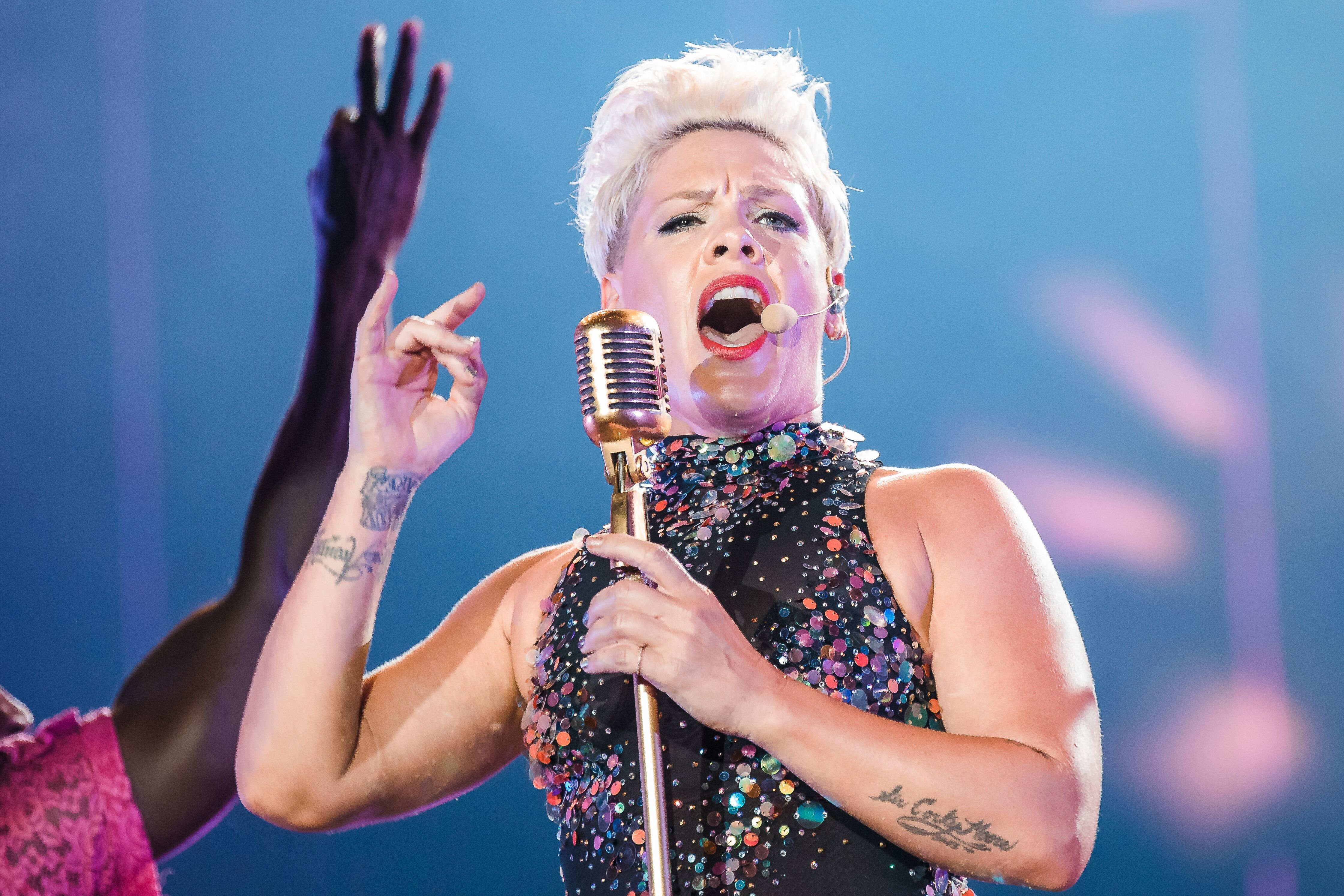 Pink performs live on stage during day 6 of Rock In Rio Music Festival at Cidade do Rock on October 5, 2019 in Rio de Janeiro, Brazil. | Source: Getty Images