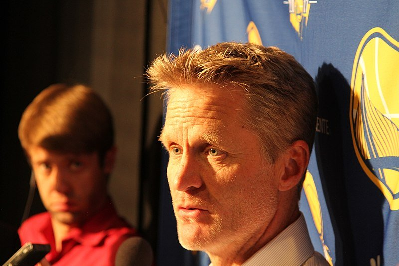 Steve Kerr being interviewed in 2017 | Source: Wikimedia
