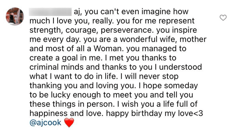 A fan writes a lengthy birthday tribute to AJ Cook   Source: Instagram/@nathanandy